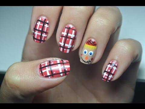 Cute Scarecrow Nail Art! - YouTube