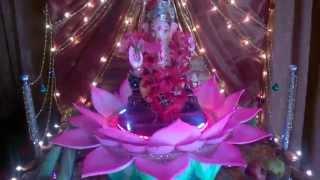 My home ganpati decoration rotating lotus...