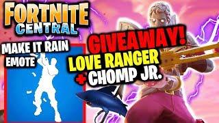1 000 VBUCKS GIVEAWAY - Love Ranger Skin - Chomp JR. (Gameplay) // FORTNITE