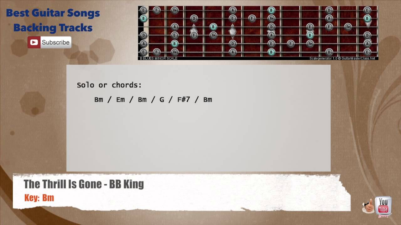 The Thrill Is Gone Bb King Guitar Backing Track With Scale