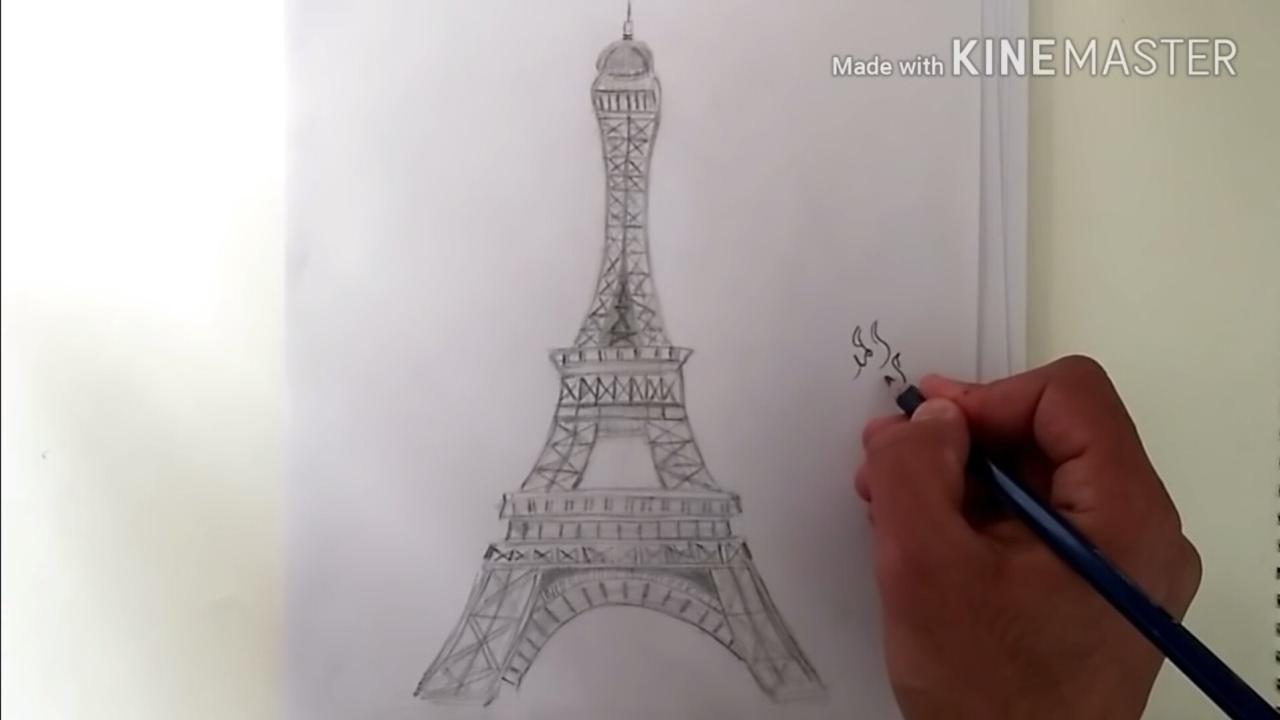 ت ع ل م رسم برج ايفل بالقلم الرصاص Youtube