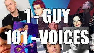 one guy 101 voices in less than 5 minutes eminem tyler joseph john lennon prince are not here