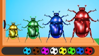 Learn Colors with Beetle Wooden Hammer Soccer Balls Finger Family Song Nursery Rhymes for Babies