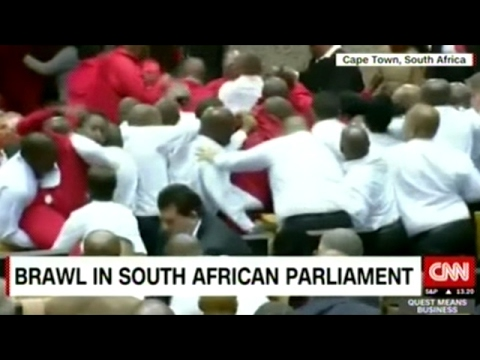South African Parliament Break Into Brawl Which Then Spills Out Into The Street!
