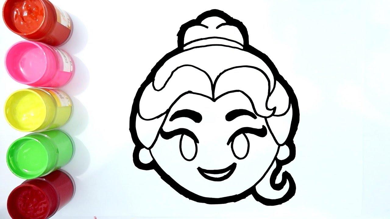 Cara Menggambar Dan Mewarnai Belle Disney Princess