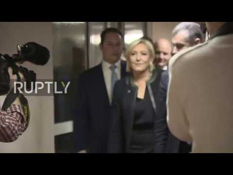 Russia: Le Pen arrives at State Duma in Moscow