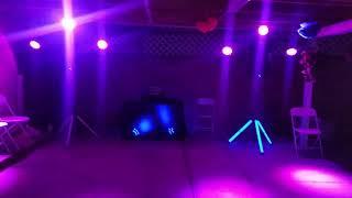 2 ADKINS PROFESSIONAL AUDIO LED SPEAKERS STAND, 6 CHAUVET SLIM PAR 56,2 QSC SPEAKERS K12'S, DENNON M