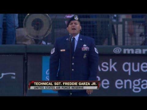 KC@SEA: Veteran sings God Bless America on July 4