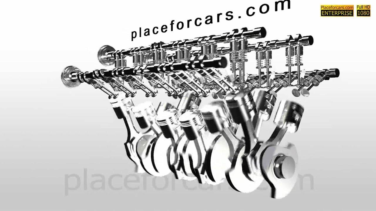 Car Engine V12 Full HD In Motion  3D Animation
