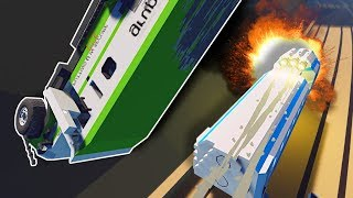 TRAIN HITS ARMORED TRUCK! - Stormworks Multiplayer Gameplay - Sinking Ship Survival