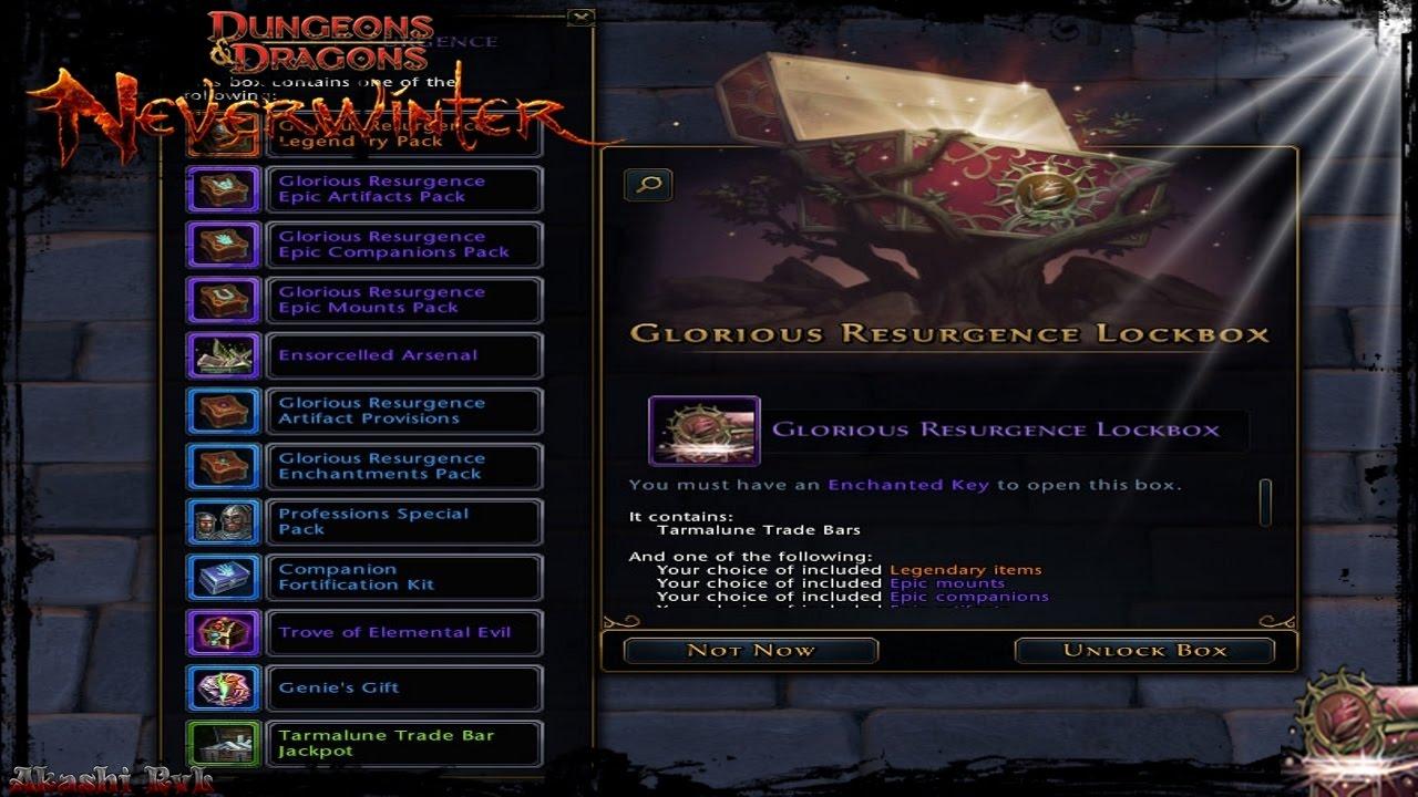 Neverwinter Glorious Resurgence Lockbox Opening. - YouTube