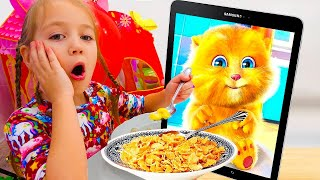 Alice follow Funny Cat eats Breakfast and Plays