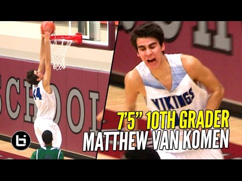"Download 7'5"" Sophomore Matt Van Komen 20 Pts & 20 Rbs vs Chino Hills! Raw Talent With Major Potential!"