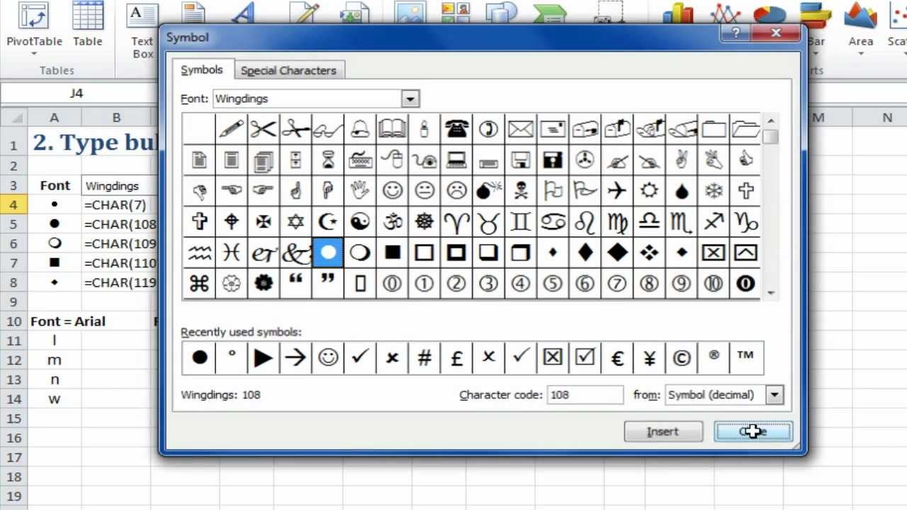 Excel Quick Tip Bullet In Excel Using Special Fonts 2 Of 5 Youtube