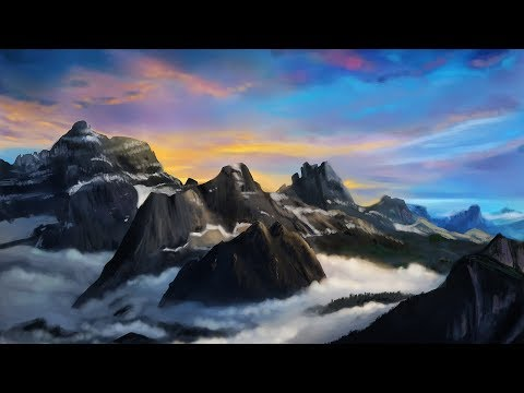 HOW TO PAINT a landscape in Photoshop   Digital Art Tutorial