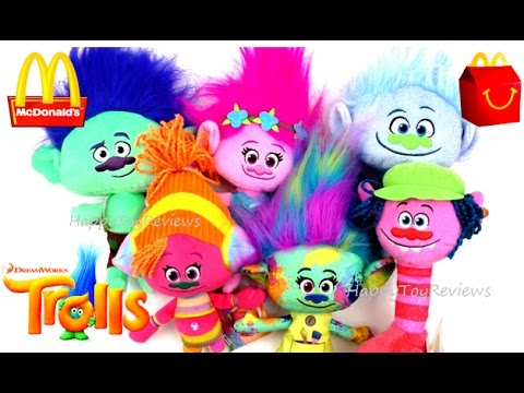 2016 DREAMWORKS TROLLS MOVIE HUG 'N PLUSH TOYS MCDONALD'S HAPPY MEAL TOYS HASBRO COMPLETE SET 6 KIDS