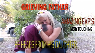 grieving father hears from daughter at grave very emotional