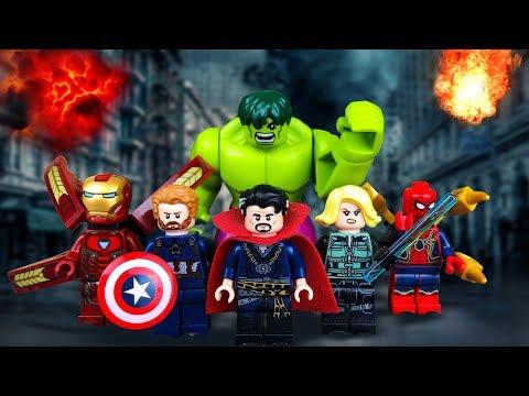 Лего Мультфильм. Халк, Железный Человек, Человек Паук, капитан Америка и Супермен против Таноса.