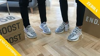 2 x Yeezy 350 V2 Zebra on feet [End. Clothing Raffle]