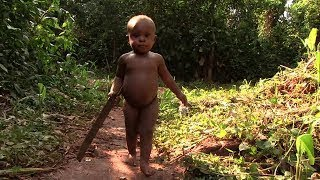 Hunter-gatherer baby learning forest skills by copying others