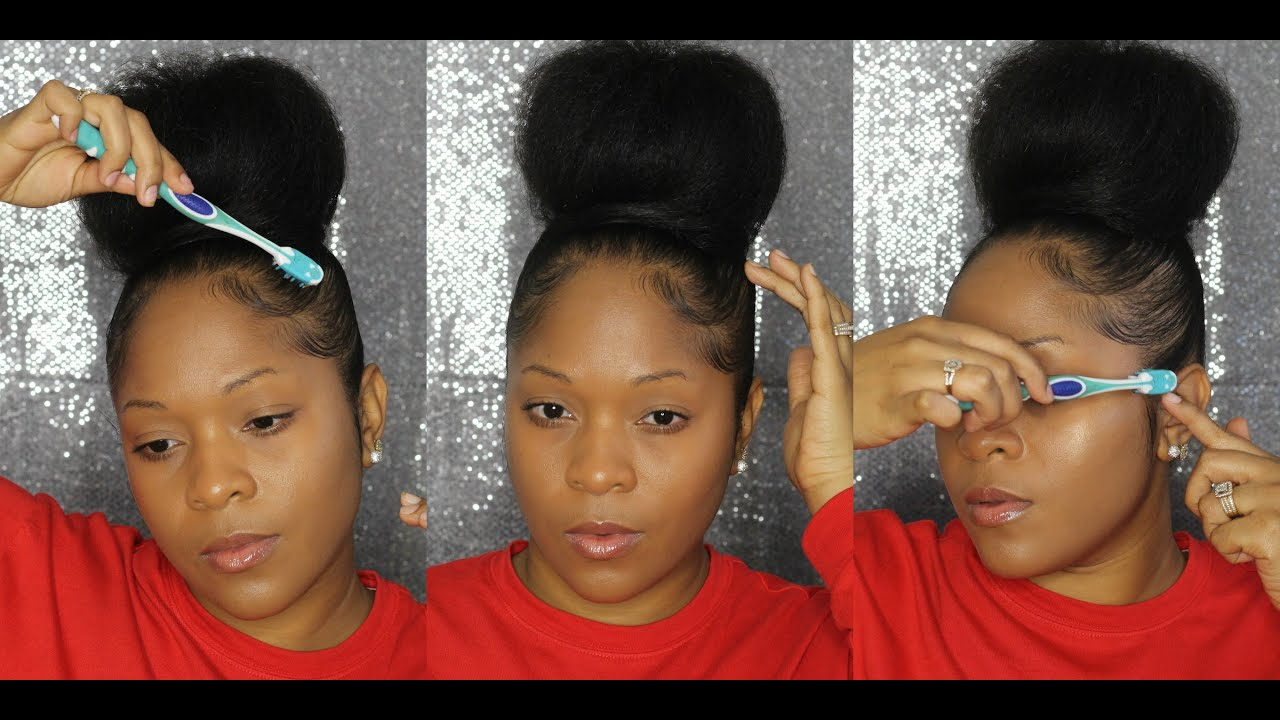 How To Hair Tutorial Big Top Knot Bun Baby Hairs Youtube