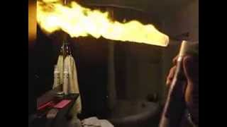 Slow motion hair spray and fire