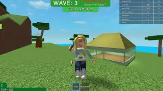 Playing Zombie Rush in Roblox :0