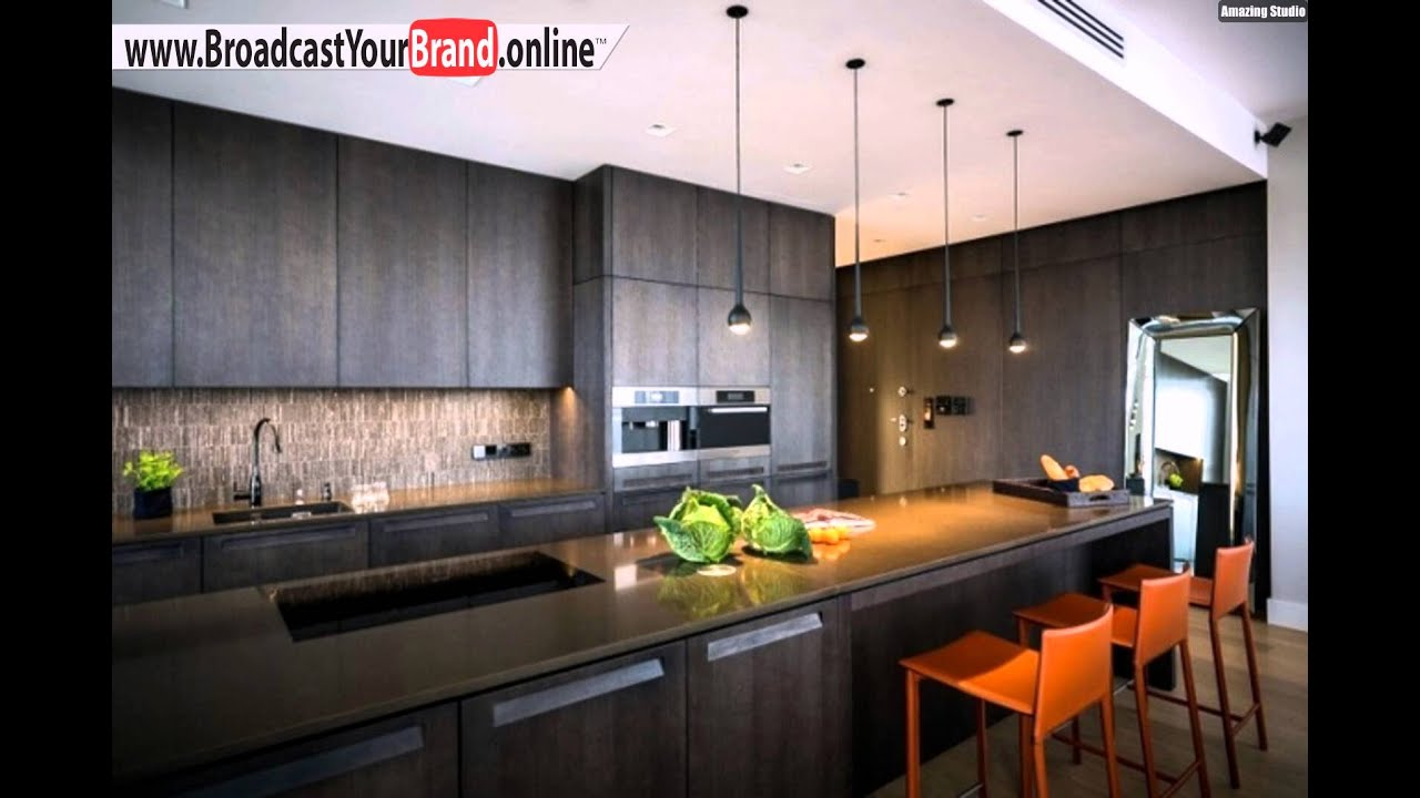 Wohnideen Küche Modern Dunkles Holz Orange Barhocker - YouTube