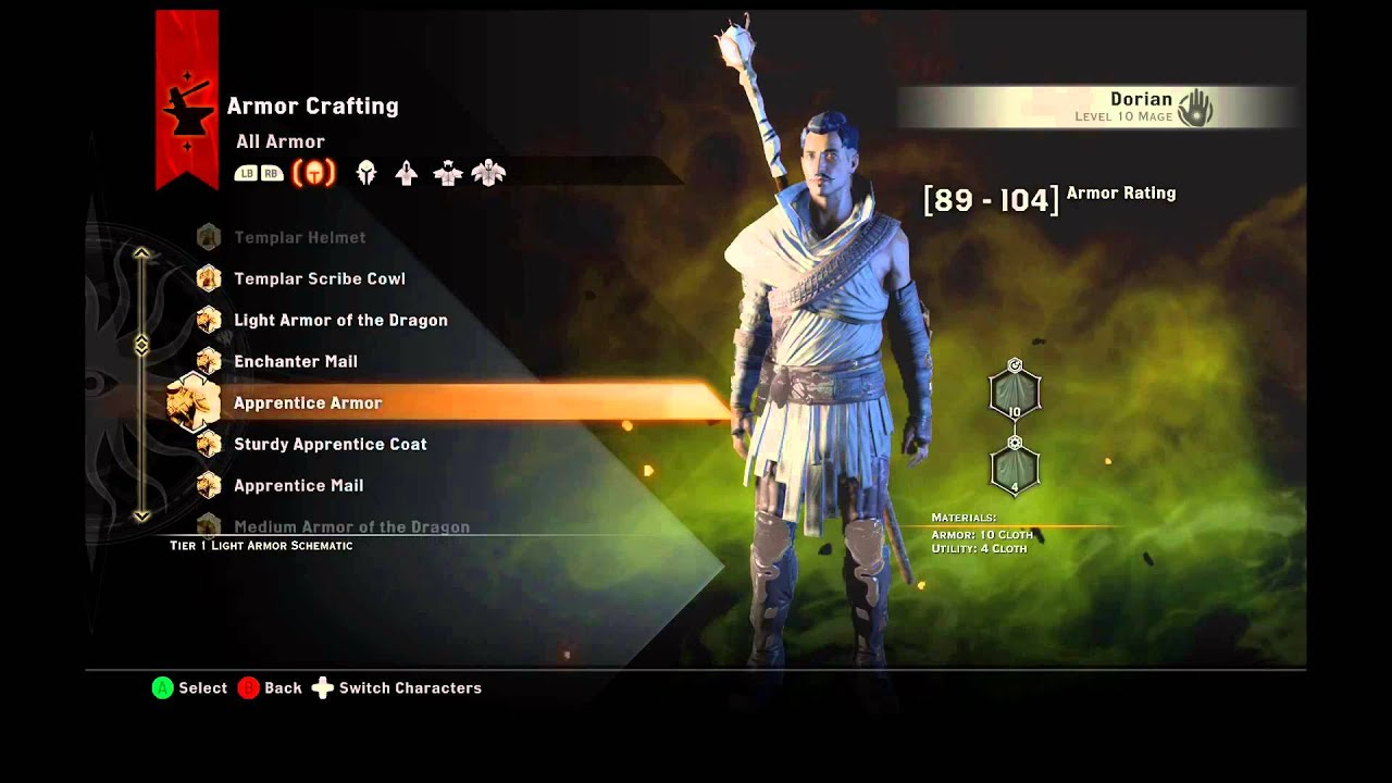 Dragon age inquisition armor schematics montage all chars youtube