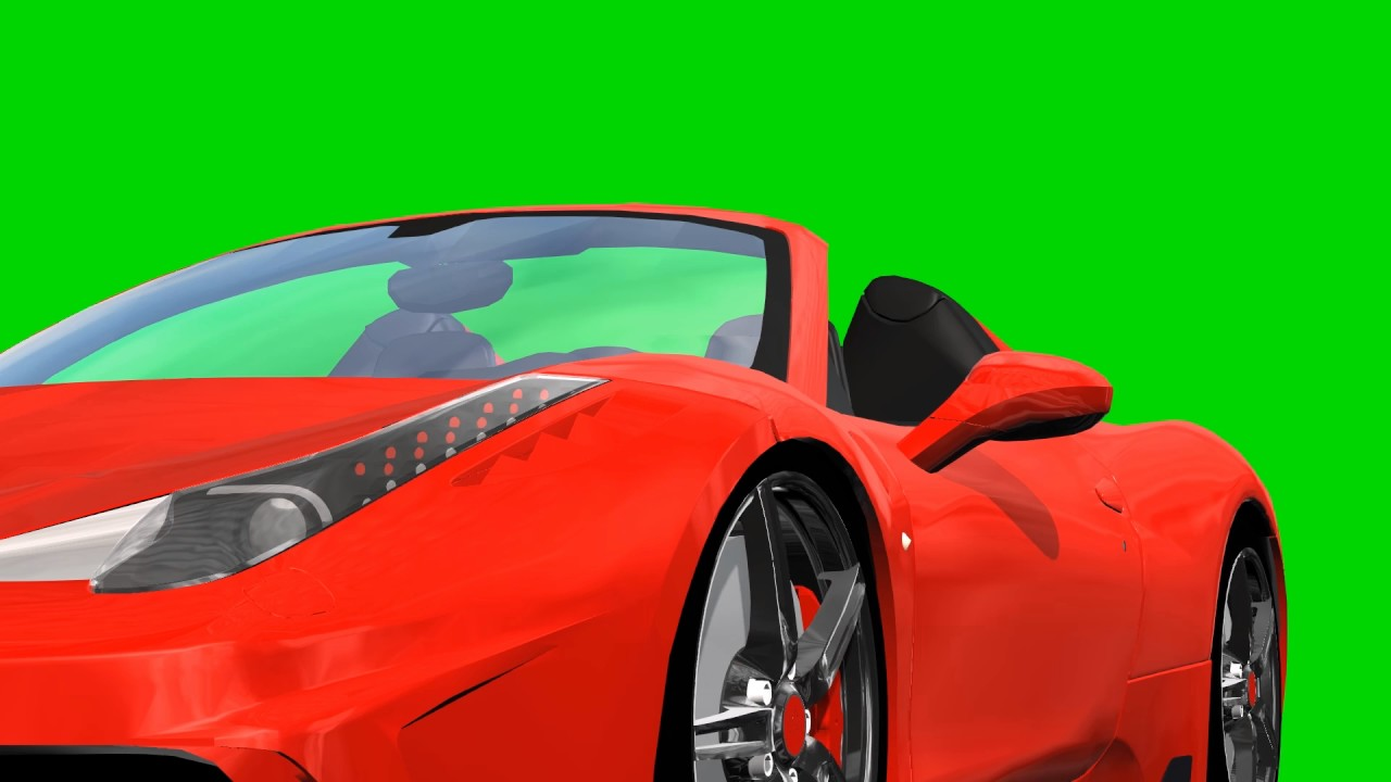 Red convertible sports car drive animation , green screen