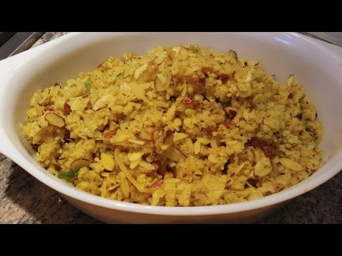 How to cook Poha | Rice Flakes with Chopped Almonds | Poha Flattened Rice