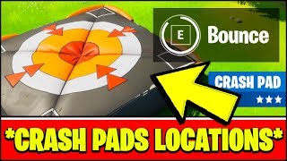 BOUNCE ON CRASH PADS IN DIFFERENT MATCHES & CRASH PADS LOCATIONS (Fortnite Season 2 Challenges)