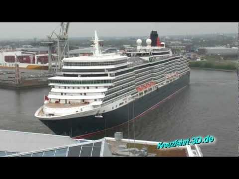 Queen Elizabeth in Hamburg Hafencity 29.04.2012 - Abfahrt Kreuzfahrtschiff (HD / 2D)