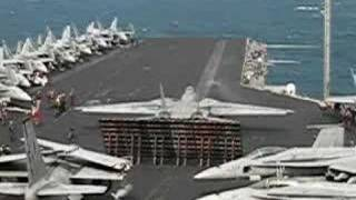 Launch footage on US Navy Aircraft Carrier