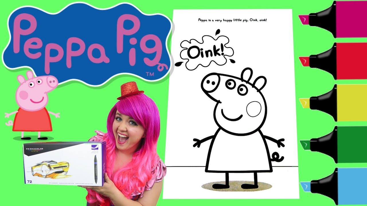 Coloring Peppa Pig Muddy Puddles Coloring Book Page Colored Markers ...