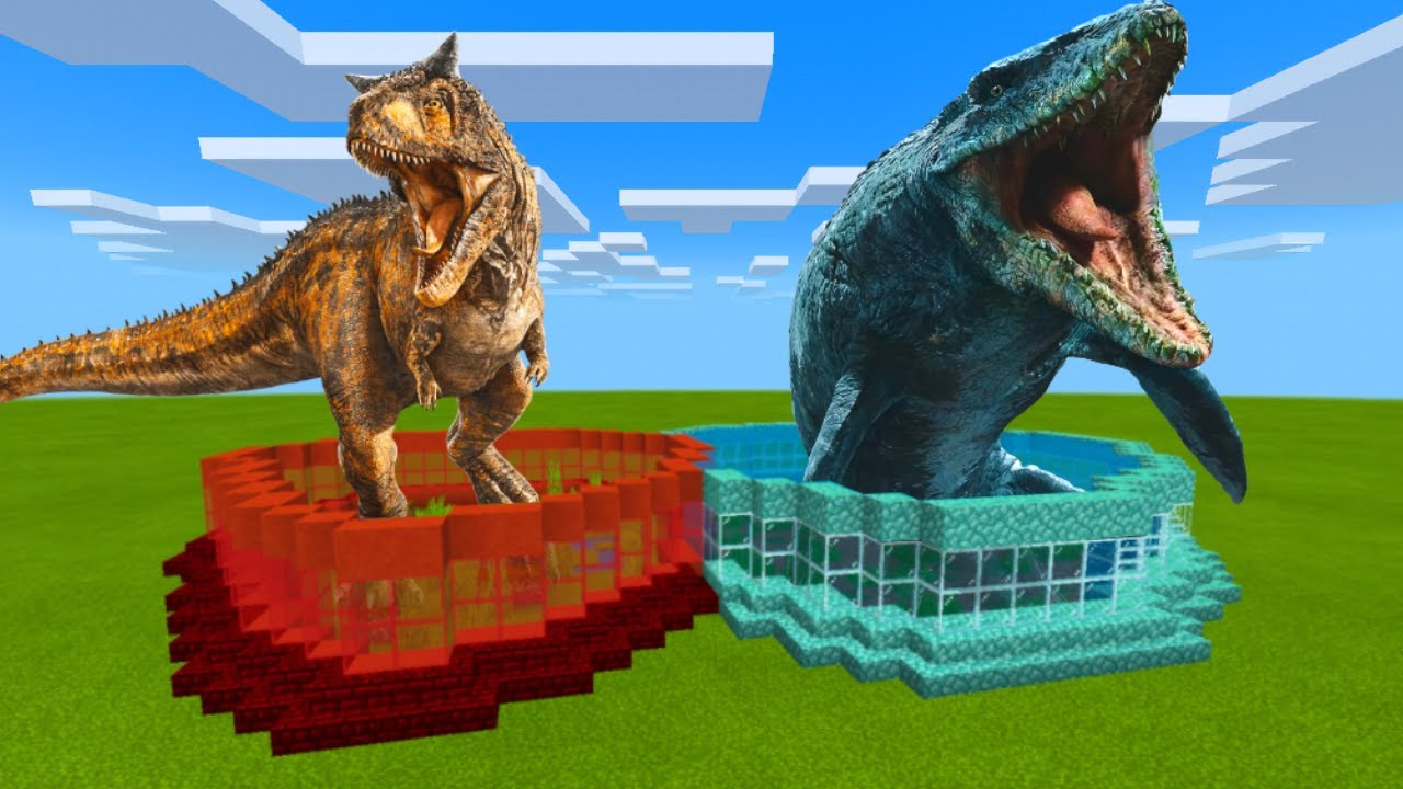 How To Make a CARNOTAURUS & MOSASAURUS FARM in Minecraft Bedrock (MCPE)