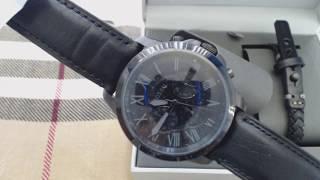 Men's Fossil Grant Chronograph Black Set Watch FS5147SET