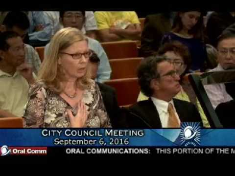 Injustice Collector Lisa Warren, Cupertino City Council Meeting 9-6-16