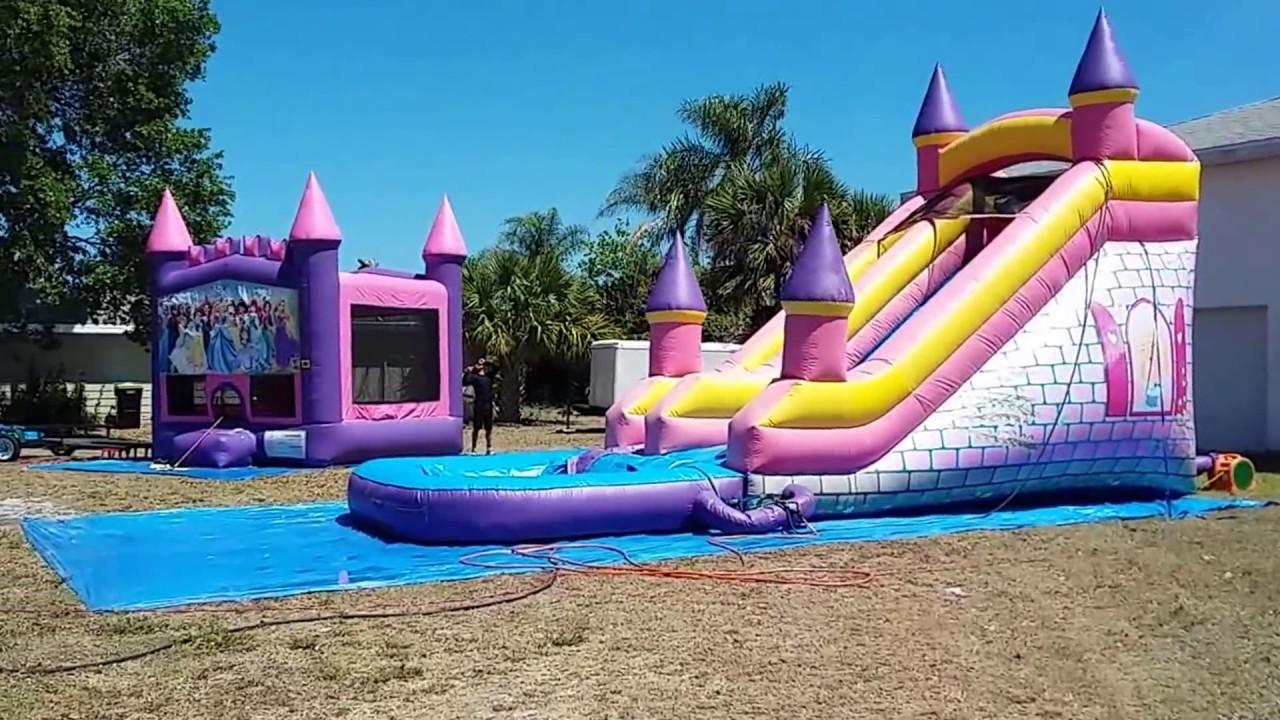 Deliver 2 Bounce House Waterslide Combos Princess Castle And A Pink