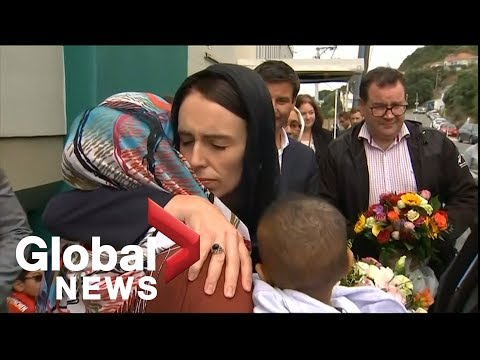 New Zealand shooting: PM Jacinda Ardern lays wreath at mosque, embraces mourners of Christchurch