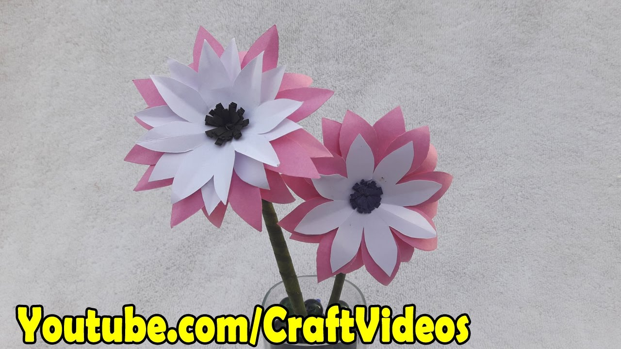 Teachers Day Craft Ideas - How to make Paper Flowers step by step ... for How To Make Paper Craft Flowers Step By Step  300lyp