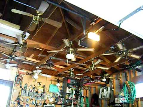 Ceiling fan display in my garage the old setup youtube ceiling fan display in my garage the old setup aloadofball Gallery