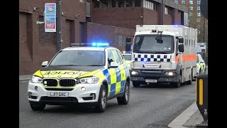 X4 greater manchester police vehicles saw here escorting a murder suspect currently appealing in liverpool crown court. all prison van on blu...