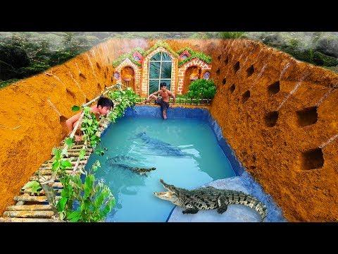 Build The Most Amazing Swimming Pool Crocodile Around The Secret Underground House