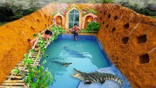 Build The Most Amazing Swimming Pool Crocodile Around The Secret Underground House