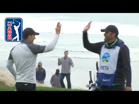 Jordan Spieth holes out from the fairway for eagle at AT&T Pebble Beach