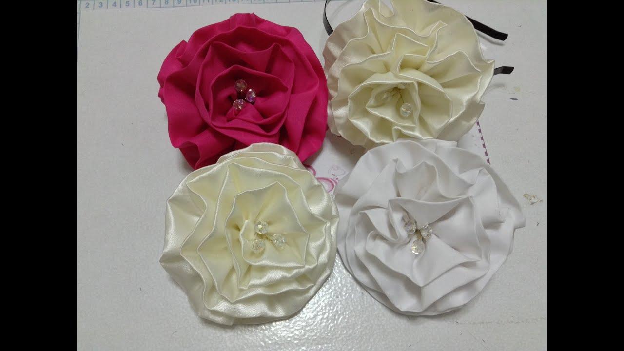 Como hacer una flor de tela de razo o satin video no 133 - Www como hacer flores com ...