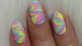 Water Marble Nägel mit Sand Effekt / Sommer Nageldesign bunt / Colorful Summer Nails