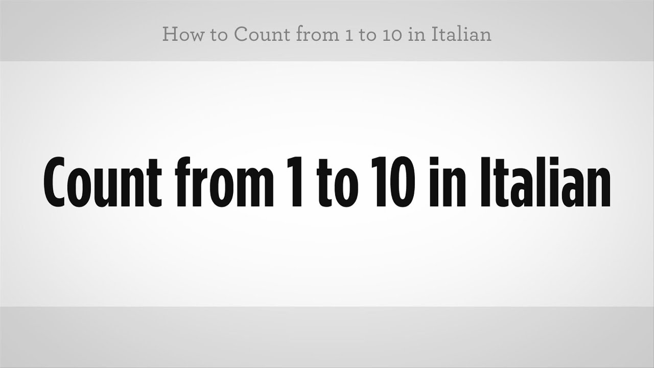How to Count in Italian pictures