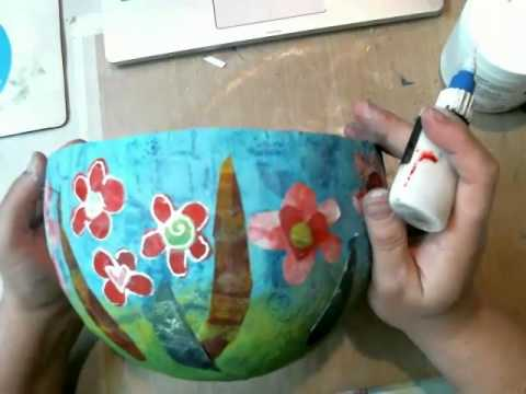 Decorating A Paper Mache Bowl With Gelli Printed Papers Youtube